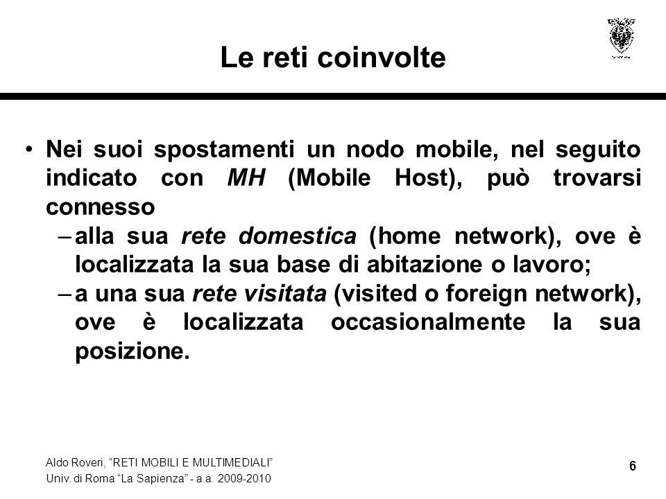 """Aldo Roveri, """"RETI MOBILI E MULTIMEDIALI"""" Univ. di Roma """"La Sapienza"""" - a.a. 2009-2010 6 Le reti coinvolte Nei suoi spostamenti un nodo mobile, nel se"""