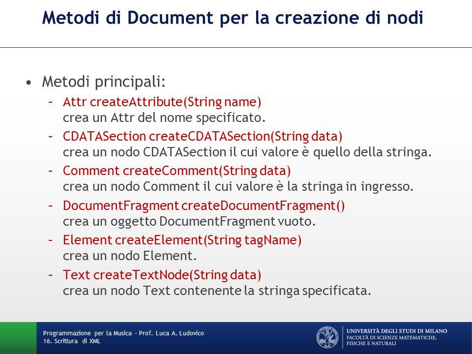 Metodi di Document per la creazione di nodi Metodi principali: –Attr createAttribute(String name) crea un Attr del nome specificato.