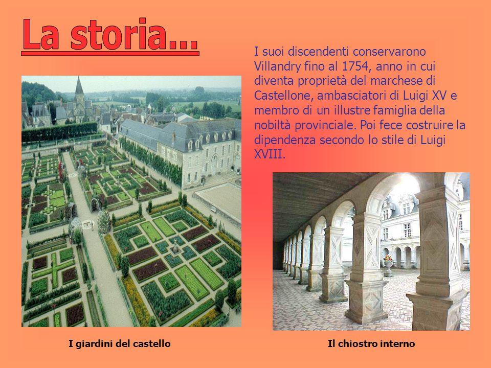 I giardini del castello I suoi discendenti conservarono Villandry fino al 1754, anno in cui diventa proprietà del marchese di Castellone, ambasciatori
