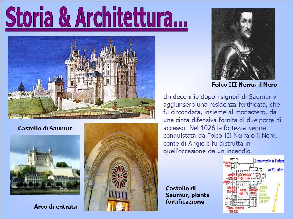 Un decennio dopo i signori di Saumur vi aggiunsero una residenza fortificata, che fu circondata, insieme al monastero, da una cinta difensiva fornita