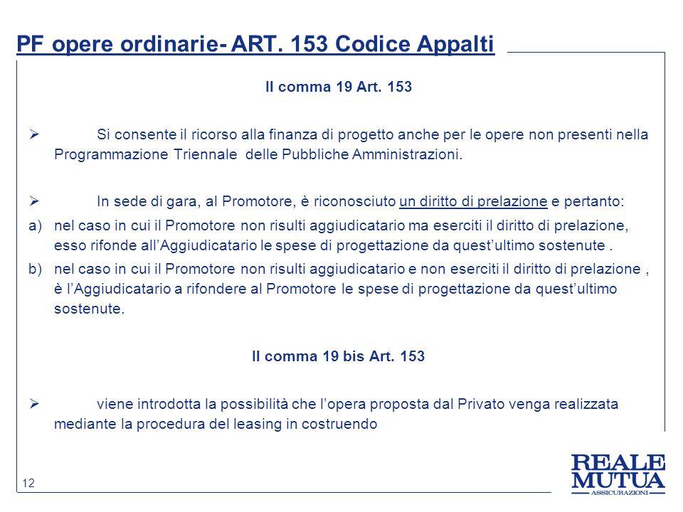 12 PF opere ordinarie- ART. 153 Codice Appalti Il comma 19 Art. 153  Si consente il ricorso alla finanza di progetto anche per le opere non presenti