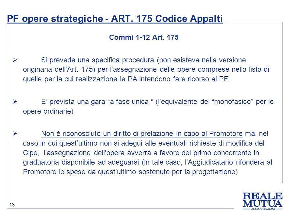 13 PF opere strategiche - ART. 175 Codice Appalti Commi 1-12 Art. 175  Si prevede una specifica procedura (non esisteva nella versione originaria del