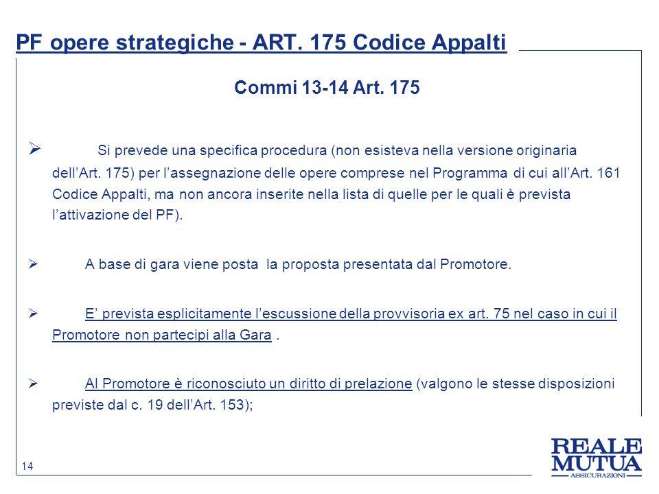 14 PF opere strategiche - ART. 175 Codice Appalti Commi 13-14 Art. 175  Si prevede una specifica procedura (non esisteva nella versione originaria de