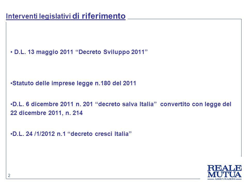 """2 Interventi legislativi di riferimento D.L. 13 maggio 2011 """"Decreto Sviluppo 2011"""" Statuto delle imprese legge n.180 del 2011 D.L. 6 dicembre 2011 n."""