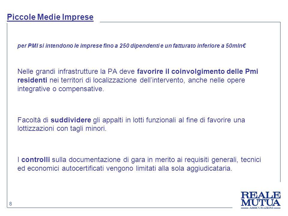 8 Piccole Medie Imprese per PMI si intendono le imprese fino a 250 dipendenti e un fatturato inferiore a 50mln€ Nelle grandi infrastrutture la PA deve