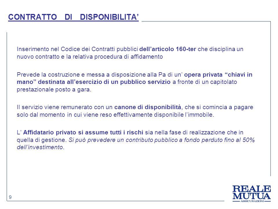 9 CONTRATTO DI DISPONIBILITA' Inserimento nel Codice dei Contratti pubblici dell'articolo 160-ter che disciplina un nuovo contratto e la relativa proc