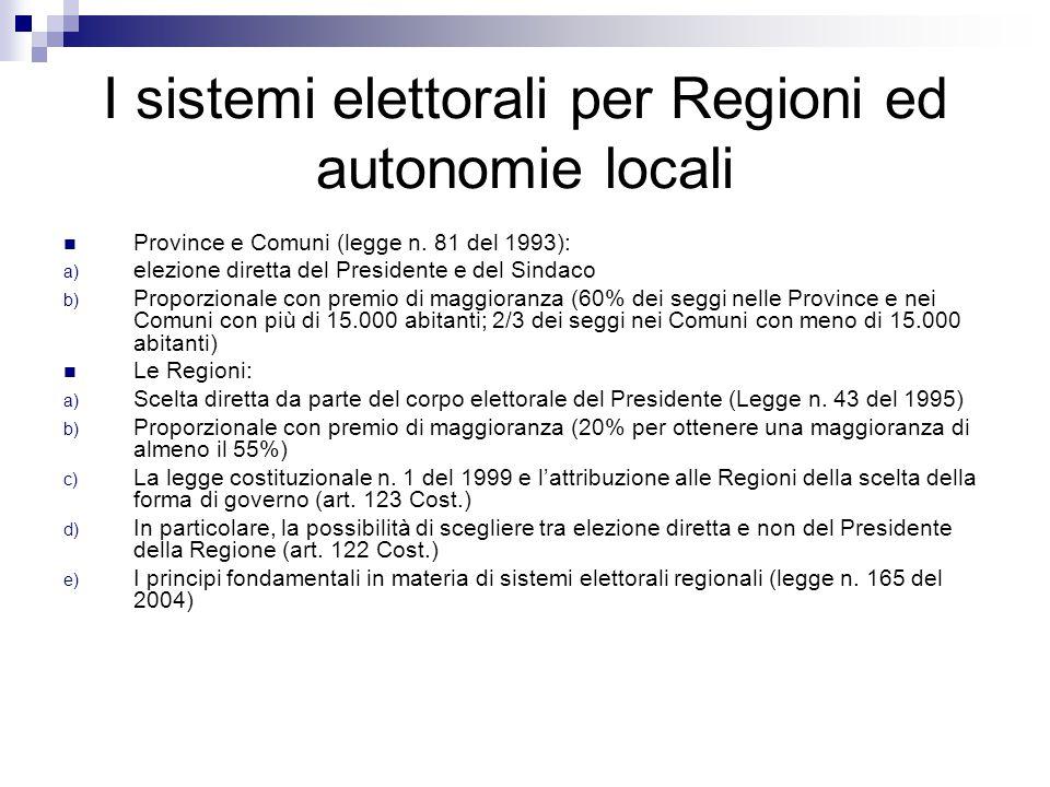 I sistemi elettorali per Regioni ed autonomie locali Province e Comuni (legge n.