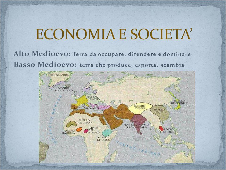 Alto Medioevo : Terra da occupare, difendere e dominare Basso Medioevo: terra che produce, esporta, scambia