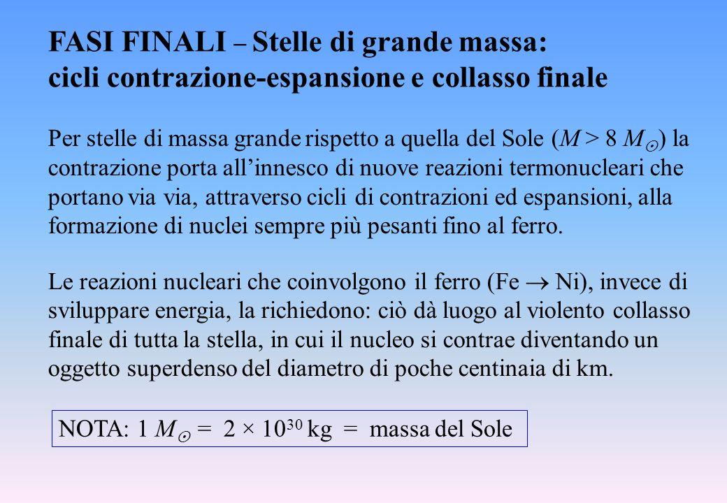 FASI FINALI  Stelle di grande massa: cicli contrazione-espansione e collasso finale Per stelle di massa grande rispetto a quella del Sole (M > 8 M 