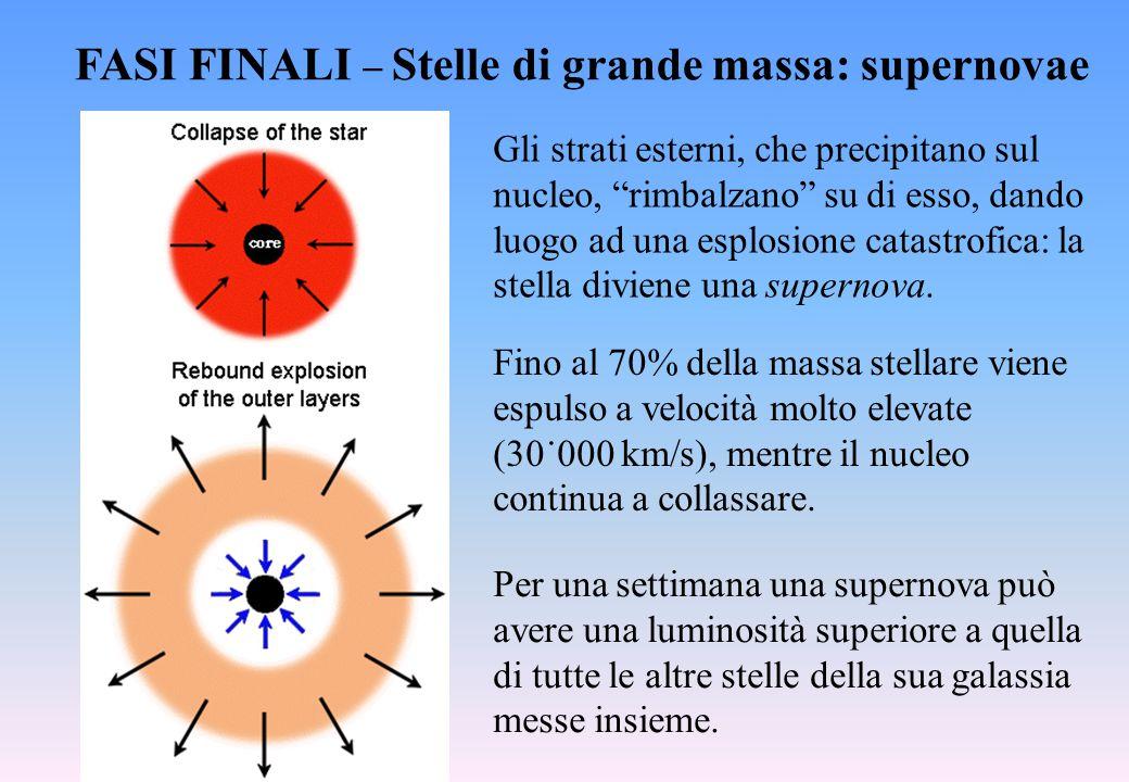 FASI FINALI  Stelle di grande massa: supernovae Fino al 70% della massa stellare viene espulso a velocità molto elevate (30˙000 km/s), mentre il nucl