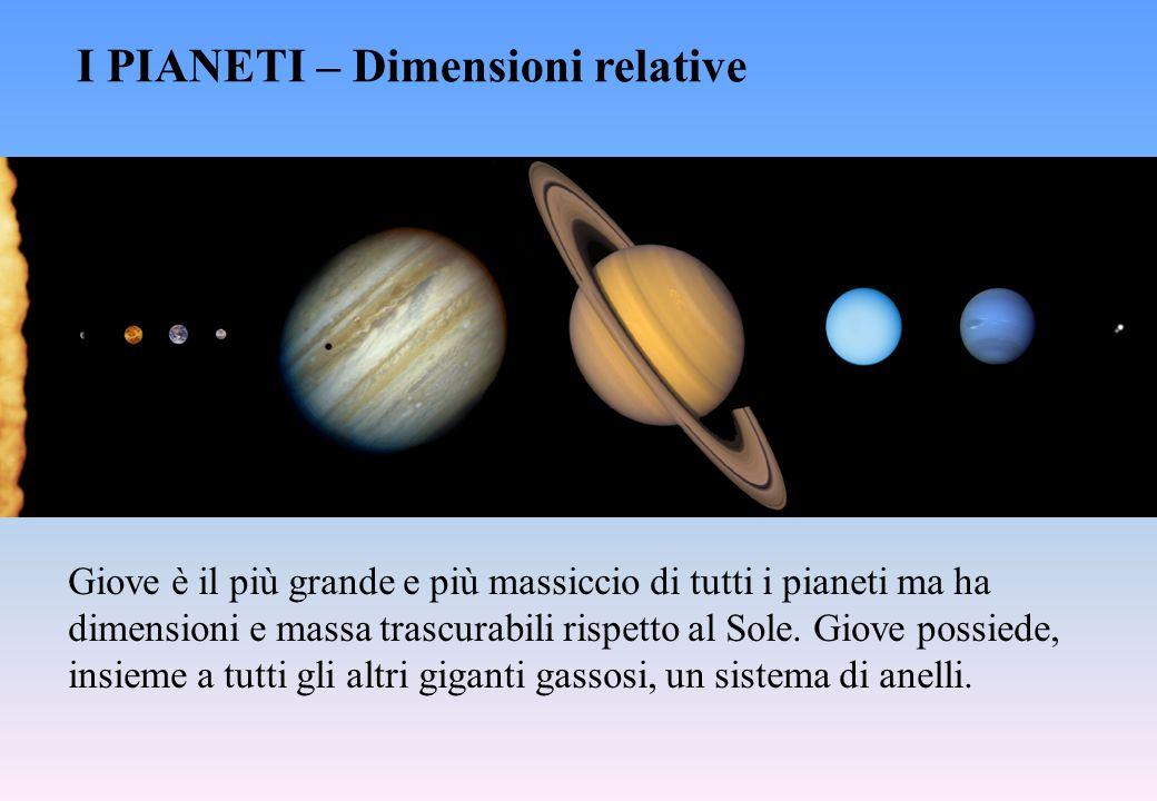I PIANETI – Dimensioni relative Giove è il più grande e più massiccio di tutti i pianeti ma ha dimensioni e massa trascurabili rispetto al Sole. Giove