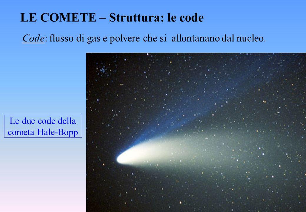 Le due code della cometa Hale-Bopp LE COMETE  Struttura: le code Code: flusso di gas e polvere che si allontanano dal nucleo.