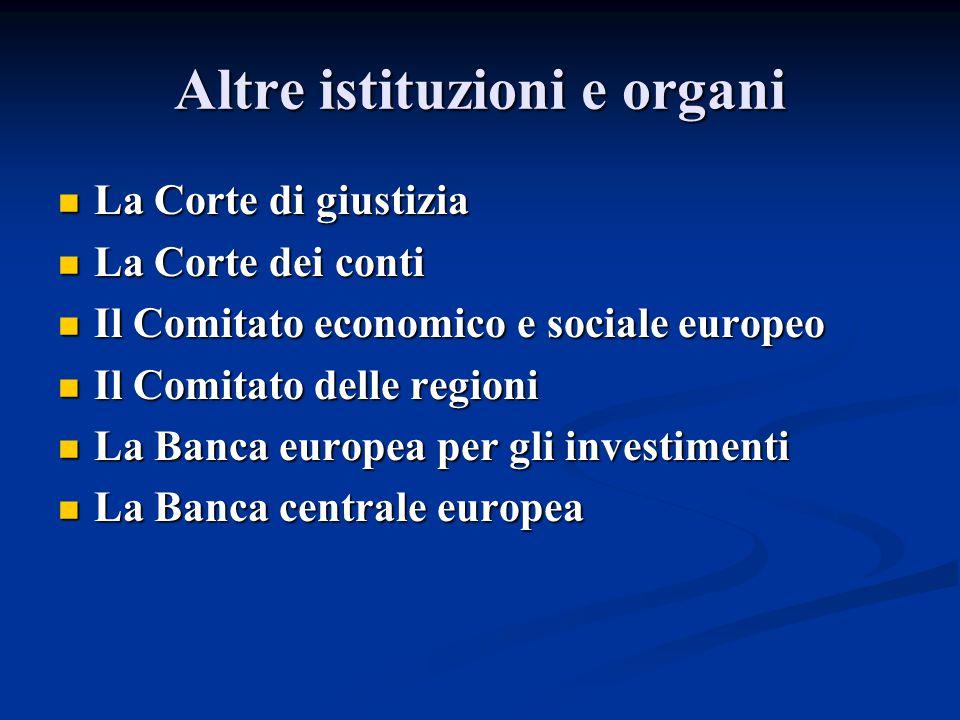 Altre istituzioni e organi La Corte di giustizia La Corte di giustizia La Corte dei conti La Corte dei conti Il Comitato economico e sociale europeo I