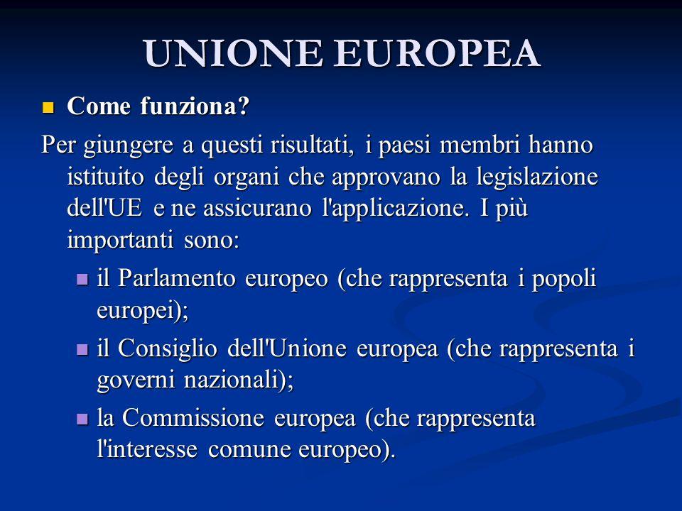 UNIONE EUROPEA Come funziona? Come funziona? Per giungere a questi risultati, i paesi membri hanno istituito degli organi che approvano la legislazion