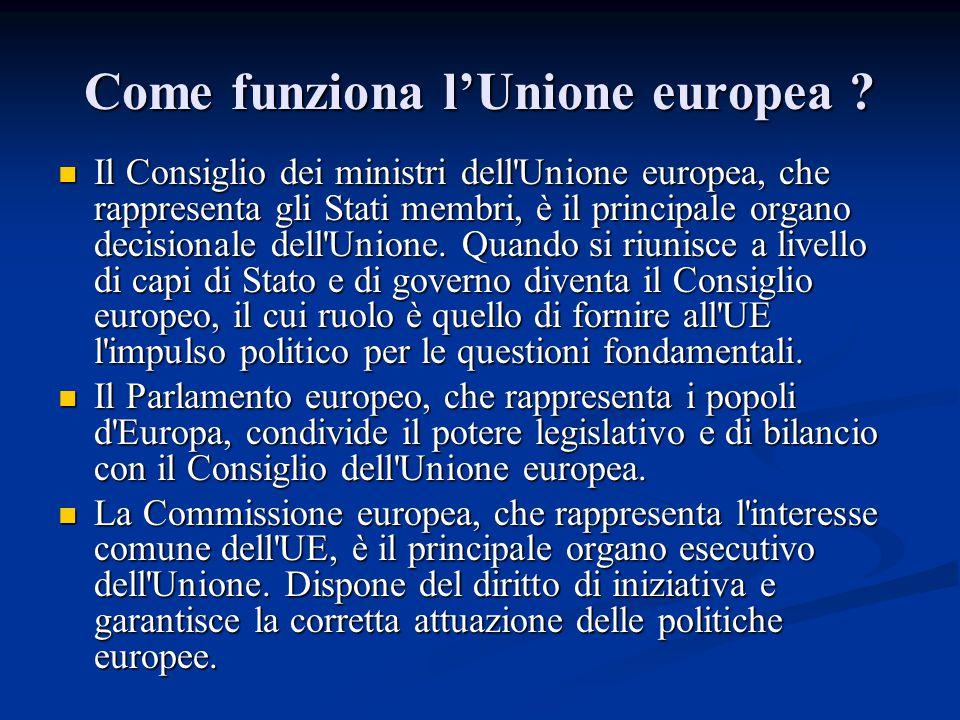 Come funziona l'Unione europea ? Il Consiglio dei ministri dell'Unione europea, che rappresenta gli Stati membri, è il principale organo decisionale d