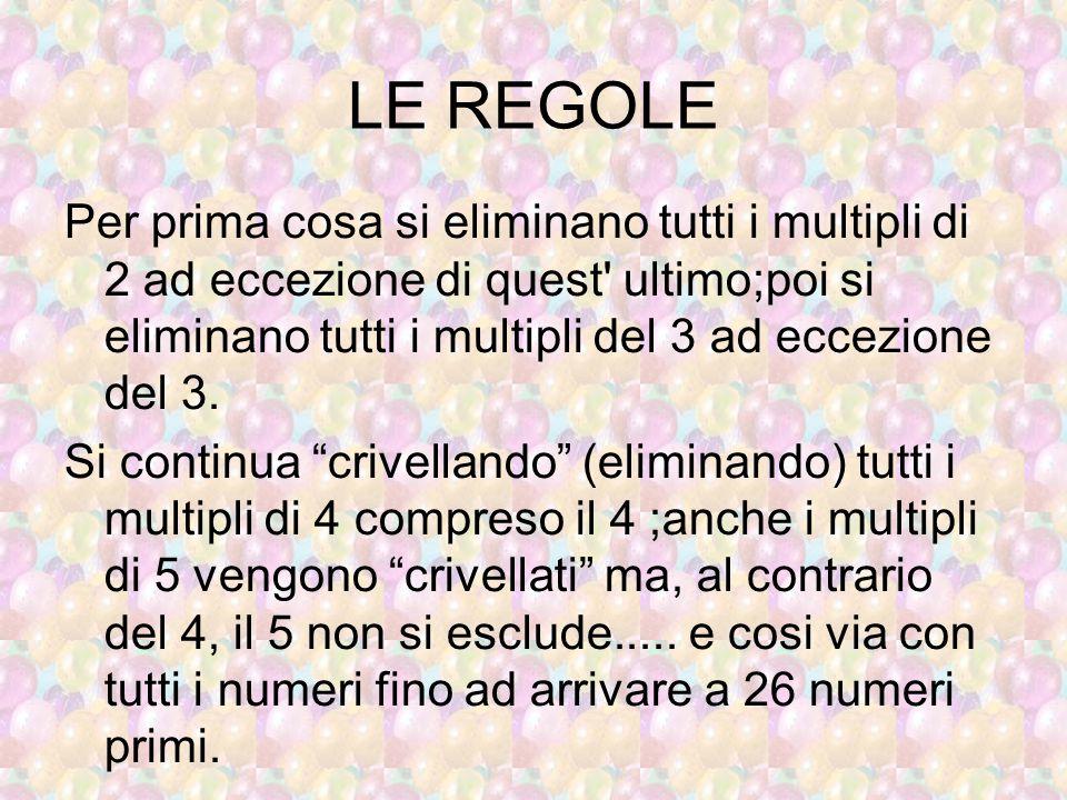 LE REGOLE Per prima cosa si eliminano tutti i multipli di 2 ad eccezione di quest' ultimo;poi si eliminano tutti i multipli del 3 ad eccezione del 3.