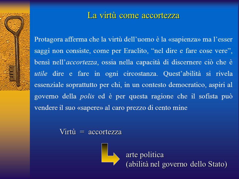 Virtù = accortezza arte politica (abilità nel governo dello Stato) La virtù come accortezza Protagora afferma che la virtù dell'uomo è la «sapienza» m