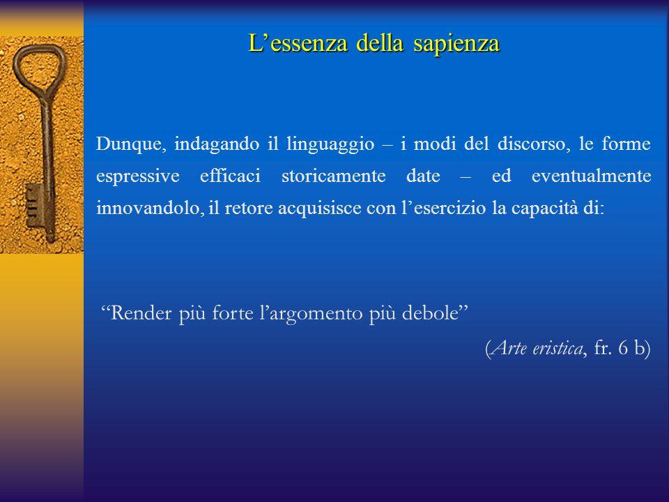 """""""Render più forte l'argomento più debole"""" (Arte eristica, fr. 6 b) Dunque, indagando il linguaggio – i modi del discorso, le forme espressive efficaci"""