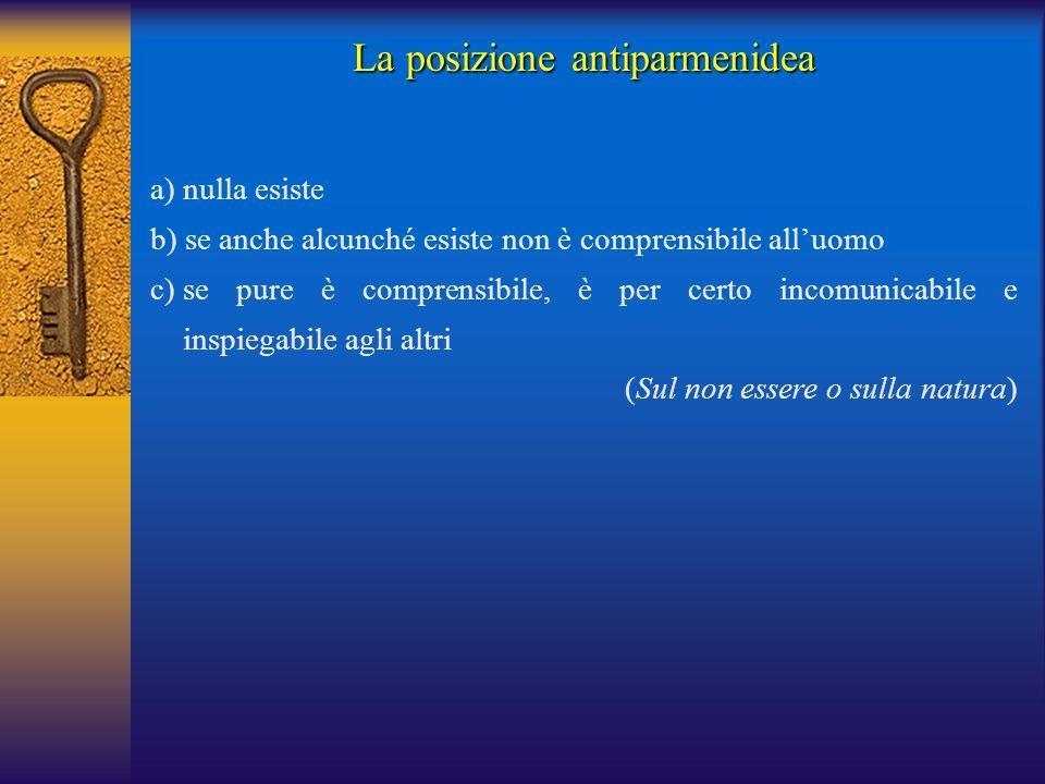 La posizione antiparmenidea a) nulla esiste b) se anche alcunché esiste non è comprensibile all'uomo c)se pure è comprensibile, è per certo incomunica