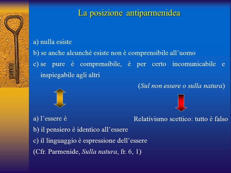 a) nulla esiste b) se anche alcunché esiste non è comprensibile all'uomo c)se pure è comprensibile, è per certo incomunicabile e inspiegabile agli alt