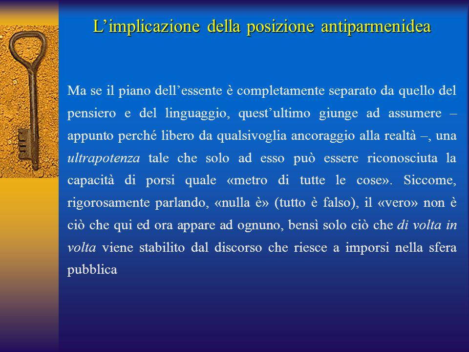 L'implicazione della posizione antiparmenidea Ma se il piano dell'essente è completamente separato da quello del pensiero e del linguaggio, quest'ulti