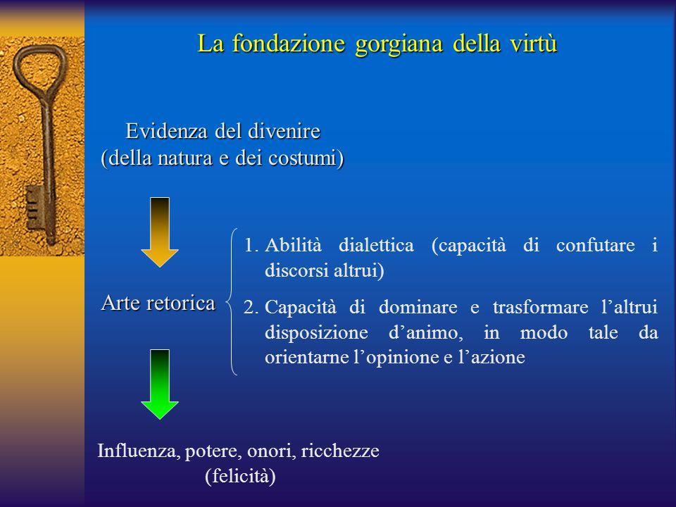 Arte retorica 1.Abilità dialettica (capacità di confutare i discorsi altrui) 2.Capacità di dominare e trasformare l'altrui disposizione d'animo, in mo