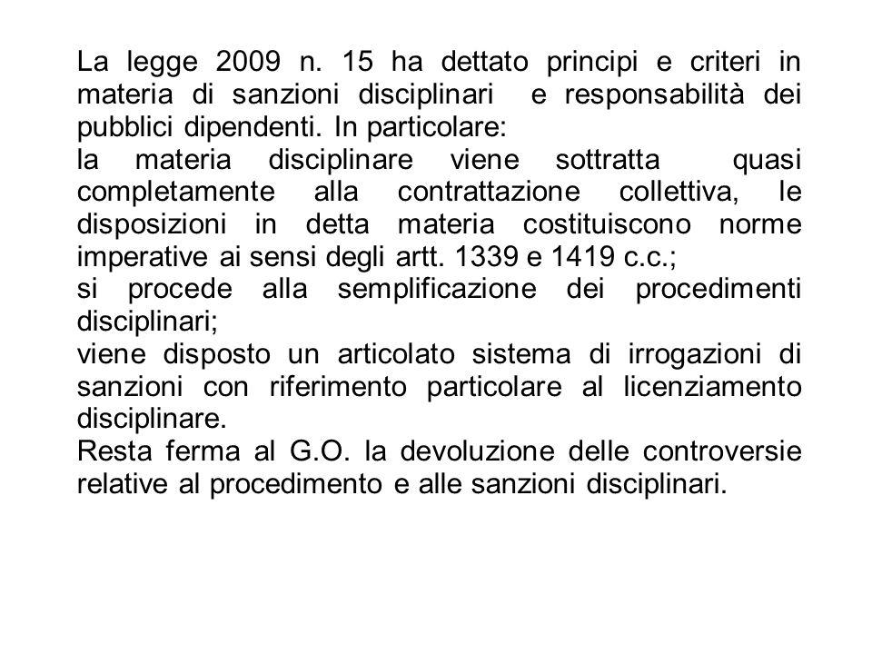 25/06/13 La legge 2009 n. 15 ha dettato principi e criteri in materia di sanzioni disciplinari e responsabilità dei pubblici dipendenti. In particolar