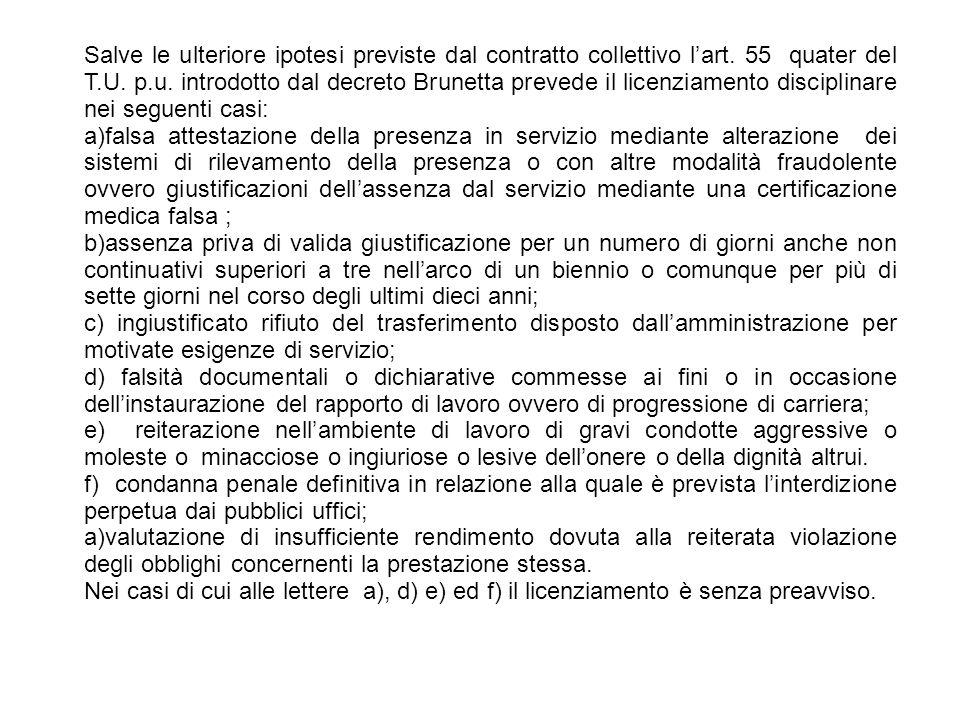 25/06/13 Salve le ulteriore ipotesi previste dal contratto collettivo l'art. 55 quater del T.U. p.u. introdotto dal decreto Brunetta prevede il licenz