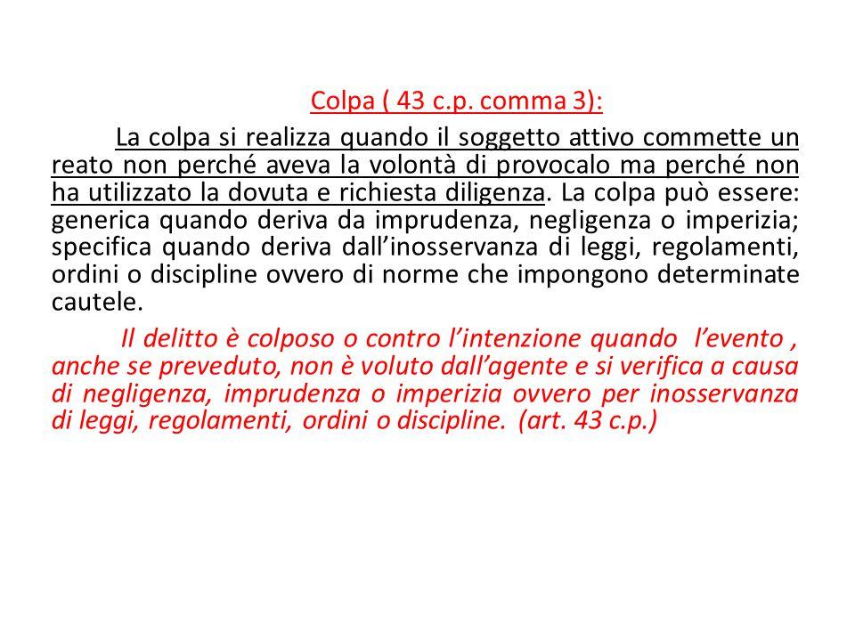 Colpa ( 43 c.p. comma 3): La colpa si realizza quando il soggetto attivo commette un reato non perché aveva la volontà di provocalo ma perché non ha u