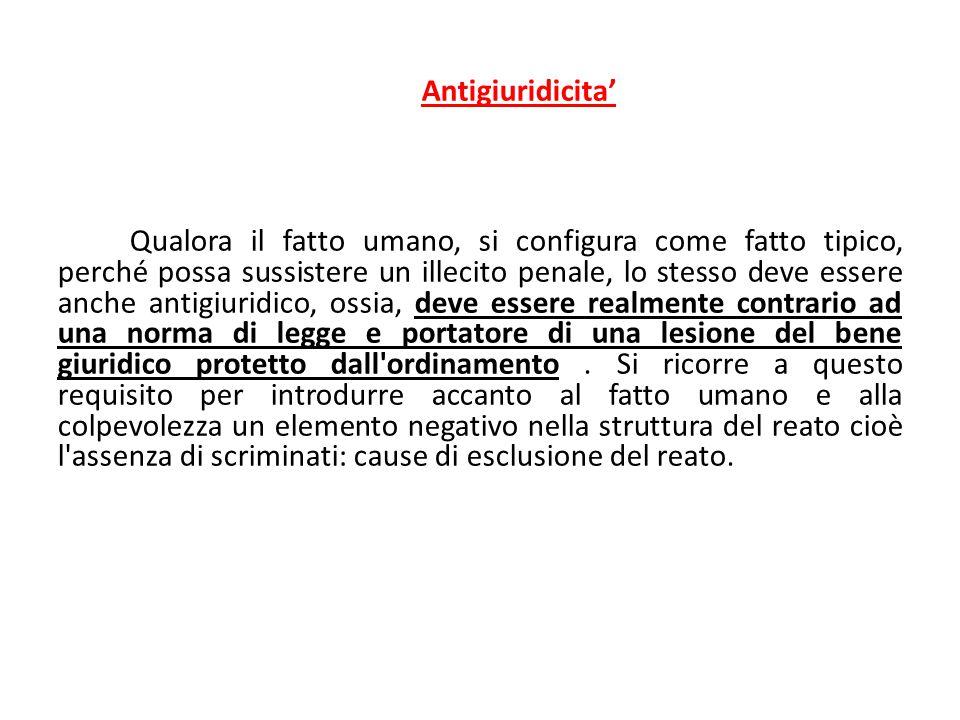 Antigiuridicita' Qualora il fatto umano, si configura come fatto tipico, perché possa sussistere un illecito penale, lo stesso deve essere anche antig