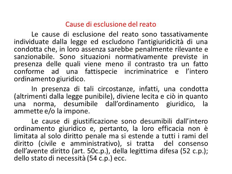 Cause di esclusione del reato Le cause di esclusione del reato sono tassativamente individuate dalla legge ed escludono l'antigiuridicità di una condo