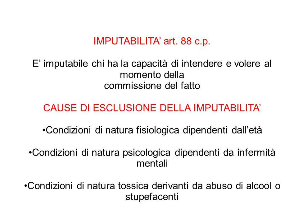IMPUTABILITA' art. 88 c.p. E' imputabile chi ha la capacità di intendere e volere al momento della commissione del fatto CAUSE DI ESCLUSIONE DELLA IMP