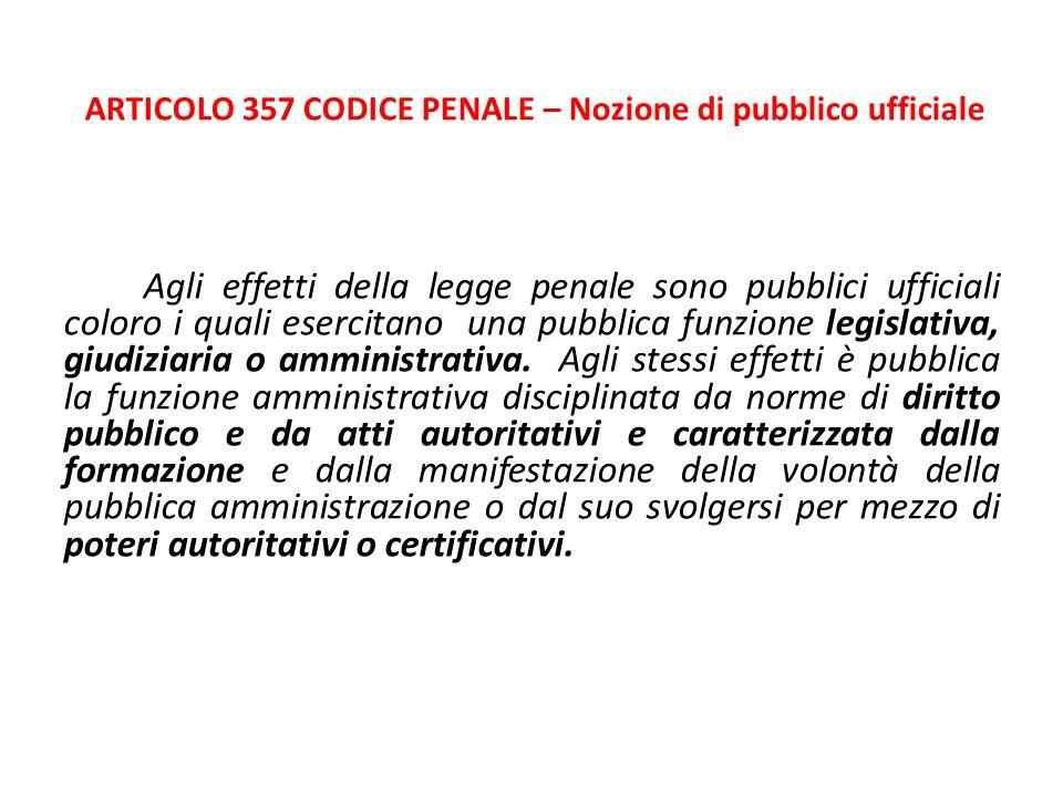 ARTICOLO 357 CODICE PENALE – Nozione di pubblico ufficiale Agli effetti della legge penale sono pubblici ufficiali coloro i quali esercitano una pubbl
