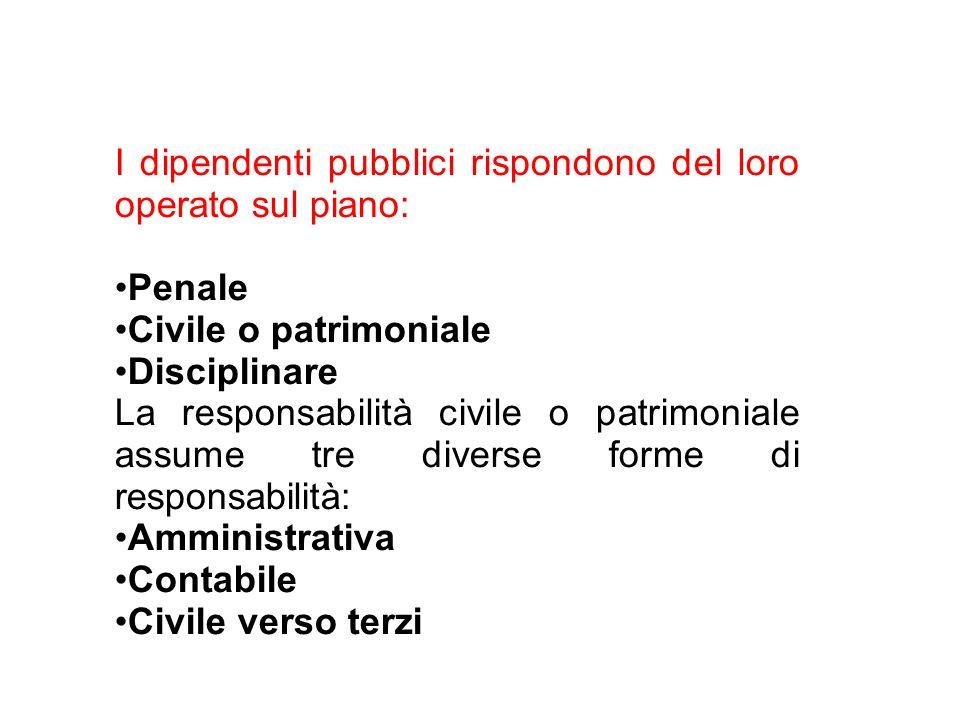I dipendenti pubblici rispondono del loro operato sul piano: Penale Civile o patrimoniale Disciplinare La responsabilità civile o patrimoniale assume