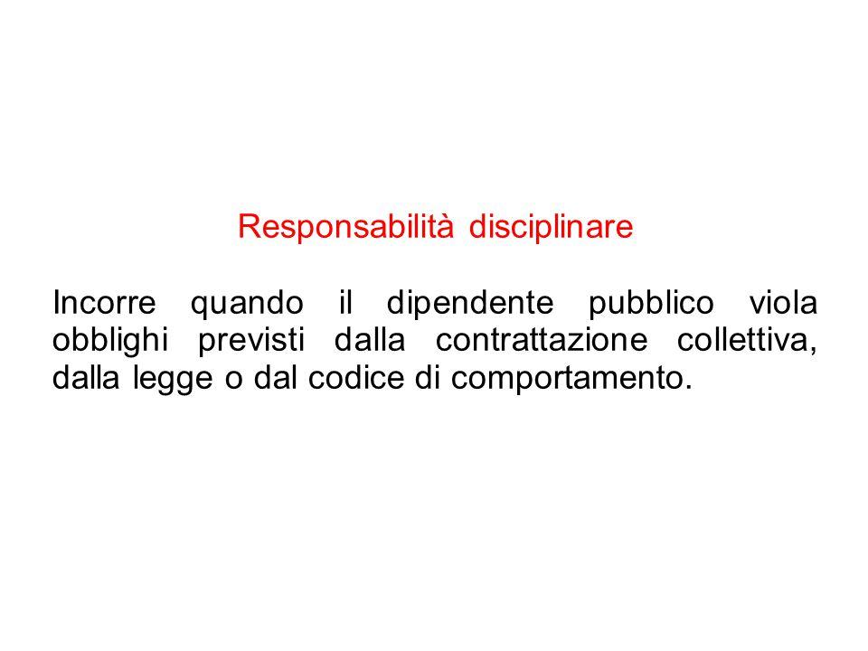 Responsabilità disciplinare Incorre quando il dipendente pubblico viola obblighi previsti dalla contrattazione collettiva, dalla legge o dal codice di