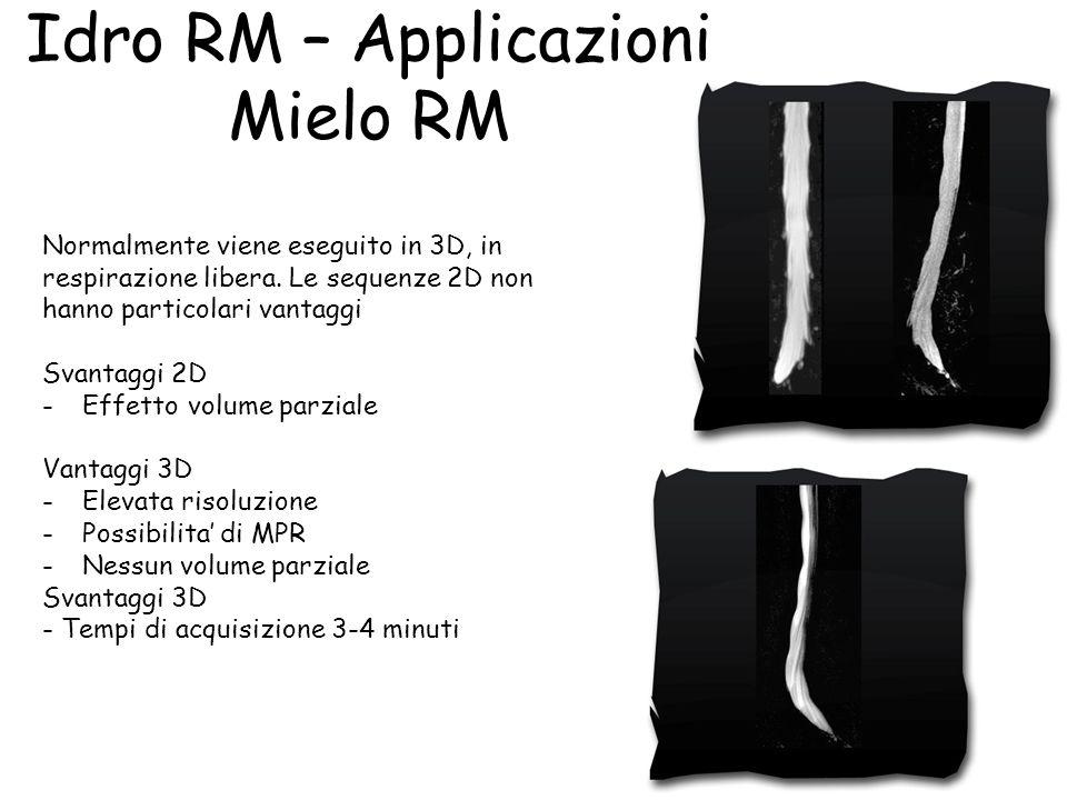Idro RM – Applicazioni Mielo RM Normalmente viene eseguito in 3D, in respirazione libera. Le sequenze 2D non hanno particolari vantaggi Svantaggi 2D -