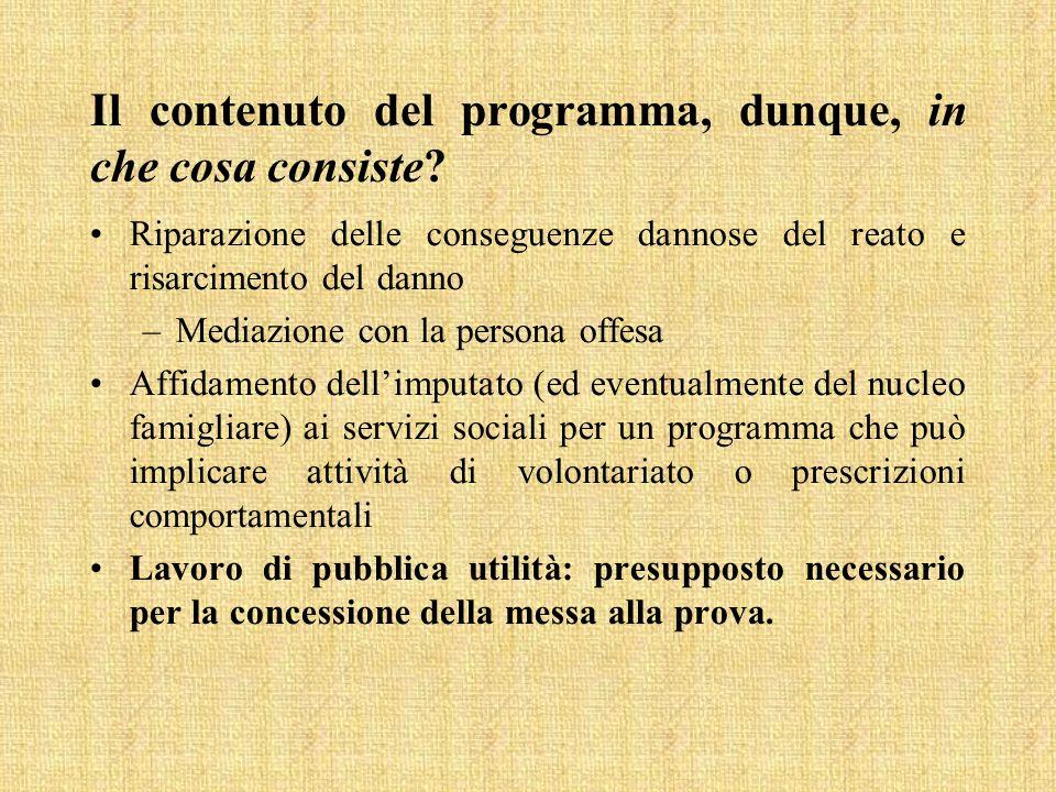 Il contenuto del programma, dunque, in che cosa consiste? Riparazione delle conseguenze dannose del reato e risarcimento del danno –Mediazione con la