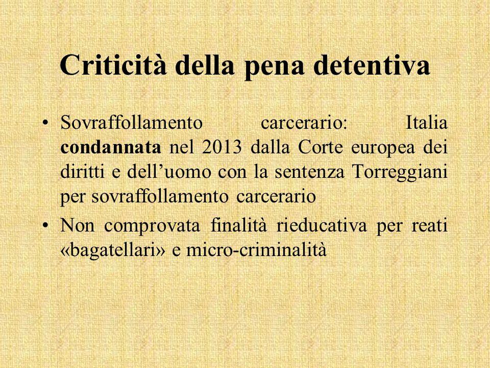 Criticità della pena detentiva Sovraffollamento carcerario: Italia condannata nel 2013 dalla Corte europea dei diritti e dell'uomo con la sentenza Tor