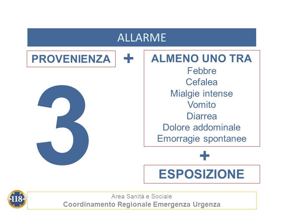 ALLARME Area Sanità e Sociale Coordinamento Regionale Emergenza Urgenza ALMENO UNO TRA Febbre Cefalea Mialgie intense Vomito Diarrea Dolore addominale