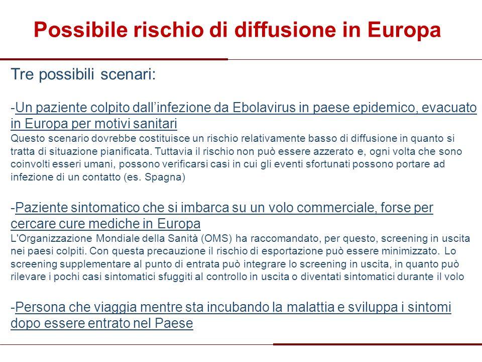Tre possibili scenari: -Un paziente colpito dall'infezione da Ebolavirus in paese epidemico, evacuato in Europa per motivi sanitari Questo scenario do