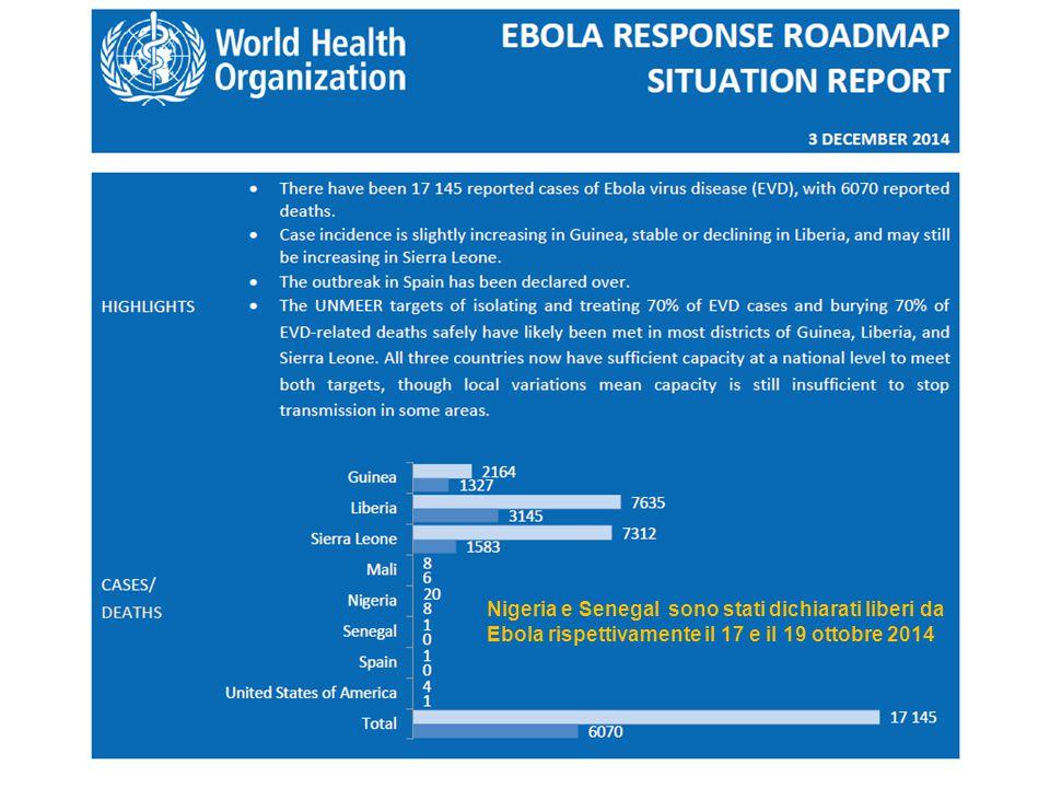 Nigeria e Senegal sono stati dichiarati liberi da Ebola rispettivamente il 17 e il 19 ottobre 2014