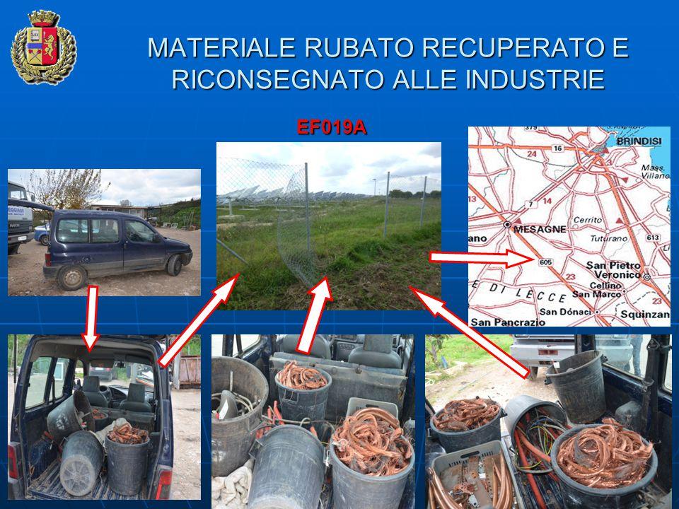 MATERIALE RUBATO RECUPERATO E RICONSEGNATO ALLE INDUSTRIE EF019A