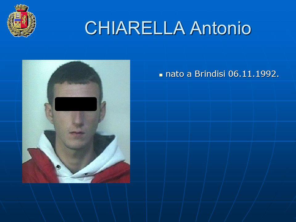 CHIARELLA Antonio nato a Brindisi 06.11.1992. nato a Brindisi 06.11.1992.