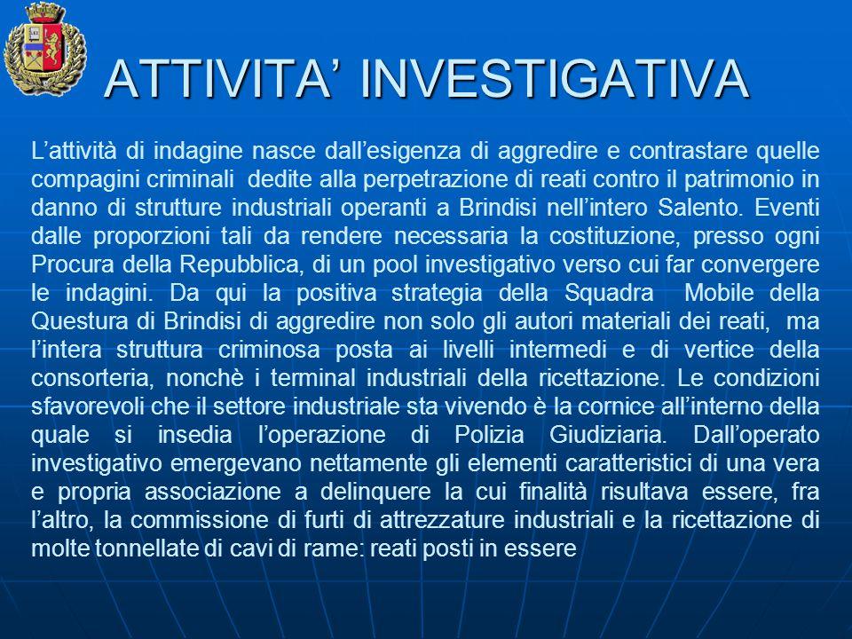 ATTIVITA' INVESTIGATIVA L'attività di indagine nasce dall'esigenza di aggredire e contrastare quelle compagini criminali dedite alla perpetrazione di