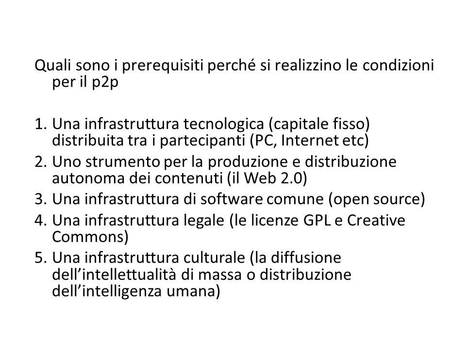Quali sono i prerequisiti perché si realizzino le condizioni per il p2p 1.Una infrastruttura tecnologica (capitale fisso) distribuita tra i partecipanti (PC, Internet etc) 2.Uno strumento per la produzione e distribuzione autonoma dei contenuti (il Web 2.0) 3.Una infrastruttura di software comune (open source) 4.Una infrastruttura legale (le licenze GPL e Creative Commons) 5.Una infrastruttura culturale (la diffusione dell'intellettualità di massa o distribuzione dell'intelligenza umana)