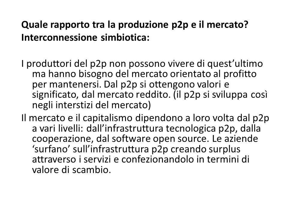 Quale rapporto tra la produzione p2p e il mercato.
