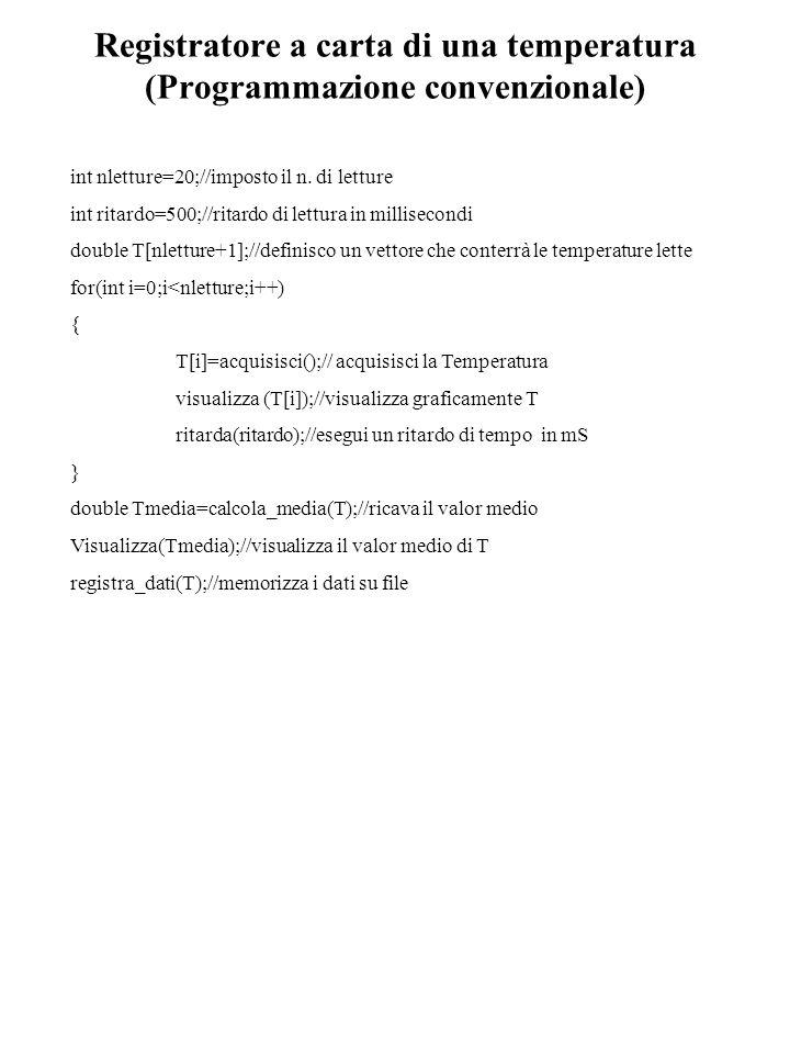 Registratore a carta di una temperatura (Programmazione convenzionale) int nletture=20;//imposto il n. di letture int ritardo=500;//ritardo di lettura