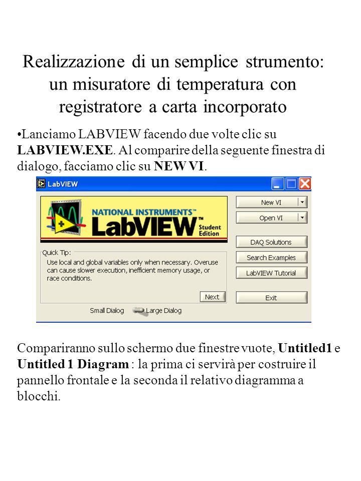 Realizzazione di un semplice strumento: un misuratore di temperatura con registratore a carta incorporato Lanciamo LABVIEW facendo due volte clic su L