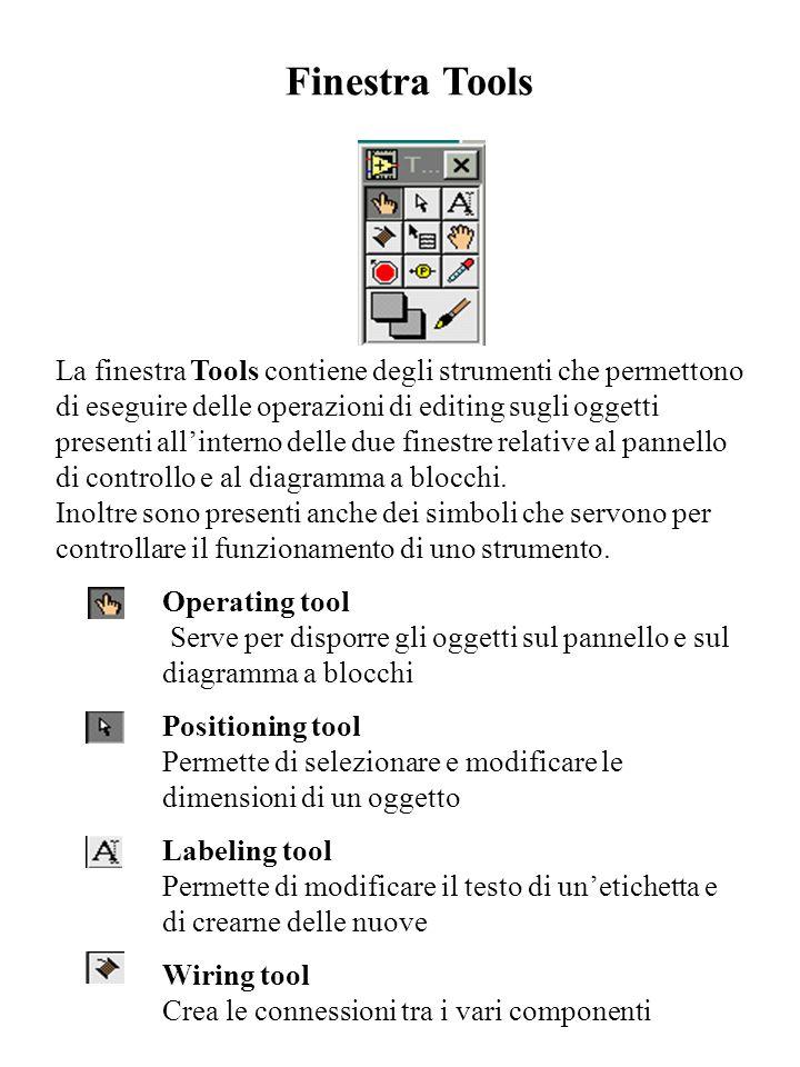 Finestra Tools La finestra Tools contiene degli strumenti che permettono di eseguire delle operazioni di editing sugli oggetti presenti all'interno de