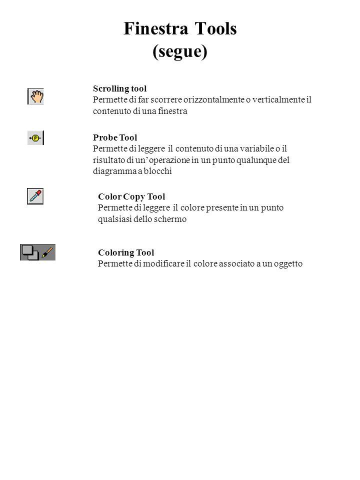 Finestra Tools (segue) Scrolling tool Permette di far scorrere orizzontalmente o verticalmente il contenuto di una finestra Probe Tool Permette di leg